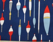 Fishing Floats and Bobbers FABRIC Kristen Berger Fishline Fabric for Maywood Studio grey red MAS8853-N
