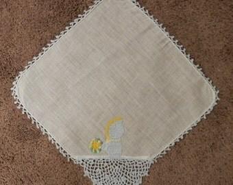 Vintage Women's Handkerchief Hand Crocheted Girl with  Bonnet 1930's