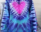 Valentine's Day present Tiedye tshirt heart shirt size xl