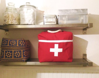 Large Toiletry / medicine case in sunbrella canvas - red cross