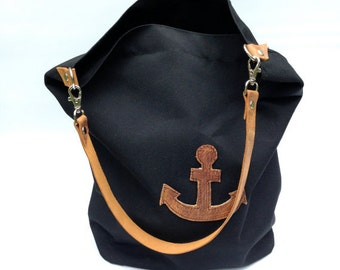 canvas sack bucket bag in black // leather handle and anchor