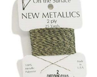 2 Ply ANTIQUE GOLD  Metallic Thread by BeadSmith