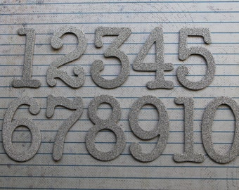 Numbers 1-12 fine silver glitter 1  3/4 inch tall chipboard die cuts great for wedding table numbers