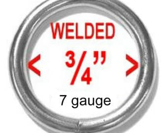 "10 PIECES - 3/4"" - WELDED, HEAVY Steel O Rings, 3/4 inch, Nickel Plated, 19.05mm, Heavy Duty 7 Gauge"