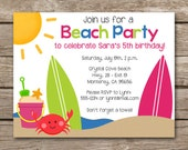 Beach Party Invitation, Beach Birthday Invitation, Beach Invitation, Summer Invitation, Beach Invite, Surfboard Invitation, PRINTABLE