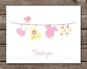PRINTABLE Baby Clothesline Note Cards, Baby Thank You Cards, Baby Cards, Personalized Note Cards,