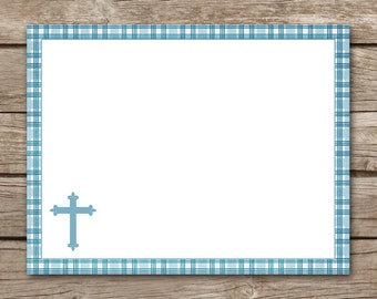Baptism Thank You Cards - Boy - Blue - Christening - Communion - Confirmation - Holy - Cross - Religious - INSTANT DOWNLOAD