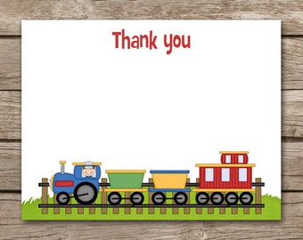 PRINTABLE - Train Thank You Cards - Train Birthday - Party - Choo Choo - Caboose - Printable - INSTANT DOWNLOAD