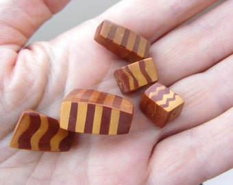 5 Gold Mica Shift Striped  Metallic Polymer Clay Beads