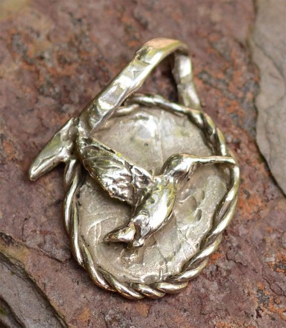Artisan Hummingbird Pendant in Sterling Silver, Rustic Bird