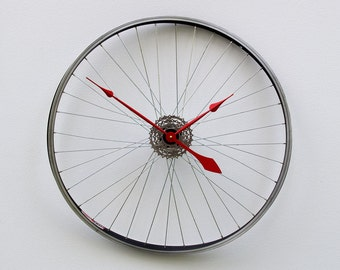 bike clock, wall clock, gear clock, bike gift, strange gift, unique gift, Recycled Warped Bike Wheel Clock, special gift, steampunk clock,