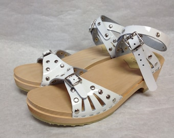 White patent studded Sandal with Wrap around ankle strap