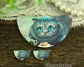 Cheshire cat  Semicircle Wood Charm, Wood Cut Cabochon, Wood Print Set - HWC857H