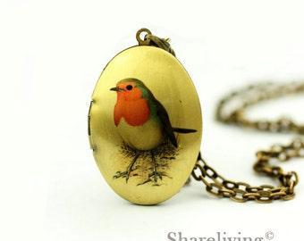 1pcs Vintage Bird Locket Pendant, Handmade Antique Bronze Brass Oval Bird Photo Locket Charm - HLK308F