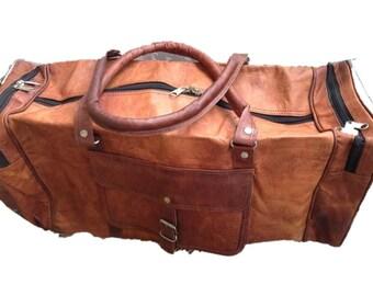 "22"" travel; gym bag; weekender bag; handmade naturally tanned leather bag;"