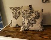 Matching Throw Pillows - Black - Tan - Damask - Home Decor - Decoration