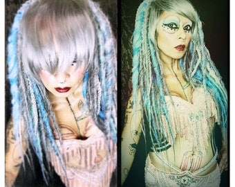 Mermaid Dread Wig, big grey blue silver dread locks, dreadlocks, Halloween Costume, Gothic Wig, Cosplay Hair, Tribal Belly Dance, Steampunk
