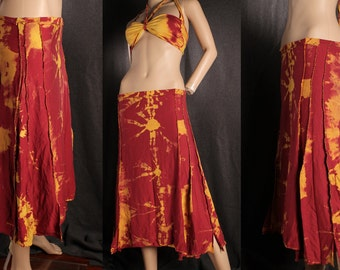 Fall Sunrise Tie Dye Maxi Skirt, long hippie skirt, gypsy fashion, boho style skirt, soft flowing skirt, hand stitched a line skirt