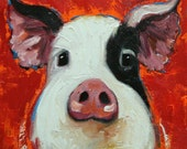 Pig painting 245 12x12 inch original oil painting by Roz