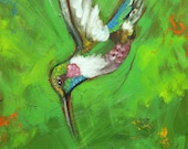 Bird painting 238 Hummingbird 12x12 inch portrait original oil painting by Roz