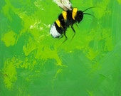 Bee painting 349 12x12 inch insect animal portrait original oil painting by Roz