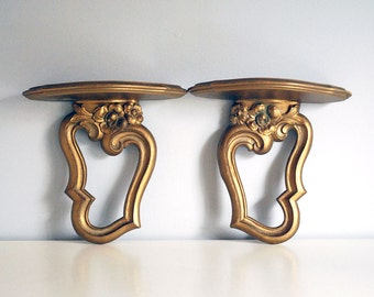 Vintage Gold Syroco Wood Shelves Hollywood Regency Decorative Wall Hanging Faux Wood Mid Century Home Decor Ornate Gilt Carving Pair