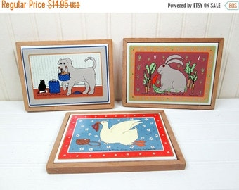 ON SALE Vintage Taylor & Ng Framed Ceramic Tile Trivet Set Classy Critters Dog Rabbit Goose