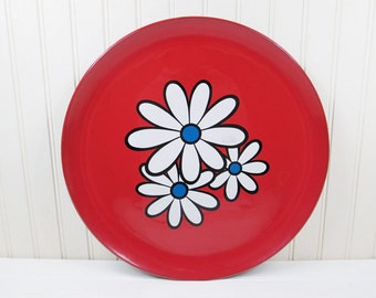Vintage Plastic Serving Tray Red Flower Power Floral Round Wall Hanging Retro