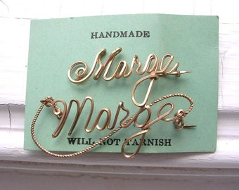 Vintage Gold Filled Name Brooch Pins Wire Marge Two Pins Original Card Personalized Jewelry Estate Find Handmade Name Pins