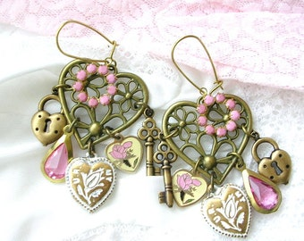 Chandelier Earrings, Dangle Charm Earrings, White Pink Enamel Flower Heart Charms, Lock Key Charm, Heart Earrings, Assemblage Earrings