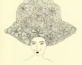 Floating Enchantment-Big Hair, Flowers in Hair, Floral Woman, Valerie Galloway print, art print, vintage inspired
