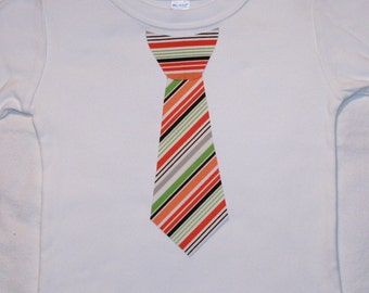Boys Halloweeen Stripe Appliqued Tie Shirt - sizes 0-3 months to size 6 - White Long or Short Sleeve