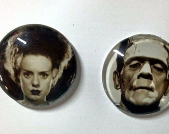 Frankenstein or Bride of Frankenstein needle minder 30mm - needleminder pinminder needlecraft or cabochon