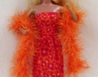 """11.5"""" Fashion Doll Clothes - orange animal print and boa"""