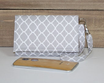 Cell Phone Wallet Wristlet, Crossbody Ready, Fits Most Smartphones, iPhone 6s Plus Wristlet, Samsung Galaxy, Lg, Nexus / Gray White Lattice