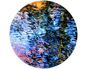 Abstract Water Photography, Reflection, Blue, Red, Orange, Black, Colorful, Circle, Round Image - 8x8 inch Print - And The Sky