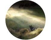 Black Cat Photograph, Animal Photography, Halloween, Kitty, Grey, Brown, Surreal, Circle, Round Image - 8x8 inch Print - Bewitc