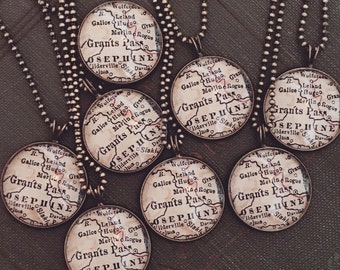 Grants Pass Map Necklace - Custom Handmade Pendant - Charm Jewelry - Oregon - Hometown