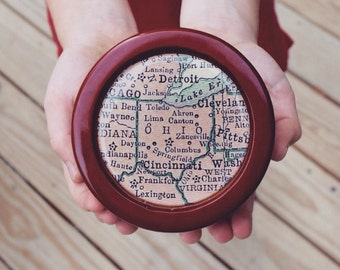 Custom Map Trinket Box - You Pick Location - Personalized Map Jewelry Box - Wedding Bridesmaid Gift - Catchall
