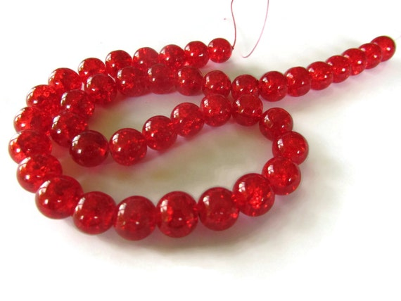 Red Crackle Glass Beads Full Strand 10mm Round Beads