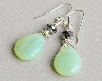 Fresh Mint Drop Earrings - Pale Green Earrings - Mint Green Earrings - Mint and Silver - Sterling Silver