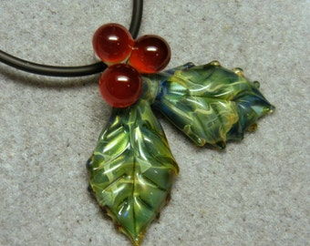 Lampwork Boro Glass Pendant - Focal Bead - HOLLY