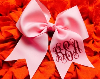 Monogrammed Cheer Bow - Large M2M with 3 Inch Ribbon personalized Cheer Bow Breast Cancer Awareness Cheer Bow