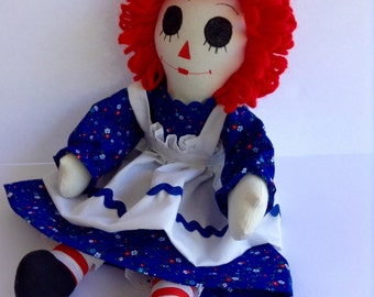 """Raggedy Ann Doll Handmade Red Hair Blue Dress priority shipping 15"""" doll Custom orders available"""