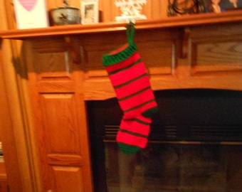 Christmas Stocking Crocheted in Red and Green