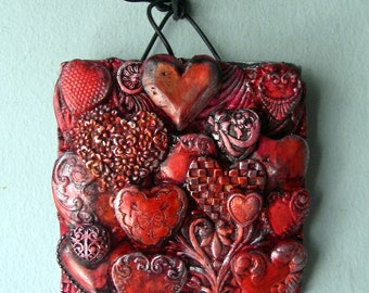Loved - polymer art hearts wall sculpture decorative home gifts for her valentine gift
