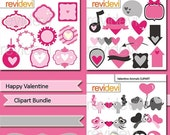 60% OFF SALE Valentine's Day Clip art - Happy Valentine Clipart MGB099 Bundle - Pink grey