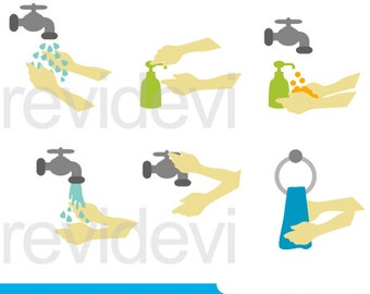 Wash your hands clipart - washing hands clipart - digital clip art - instant download