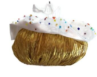 Cupcake Drawstring Purse , Wristlet Handbag , Made to Order , White Wedding Purse , Evening Bag , Victorian Bridal Handbag , Gold White Bag