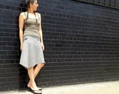 Womens Summer Skirt in Gray and Cream Striped Hemp, Organic Cotton with Organic Bamboo Stretchy Waistband, Zipper Pocket -  Summer Fashion